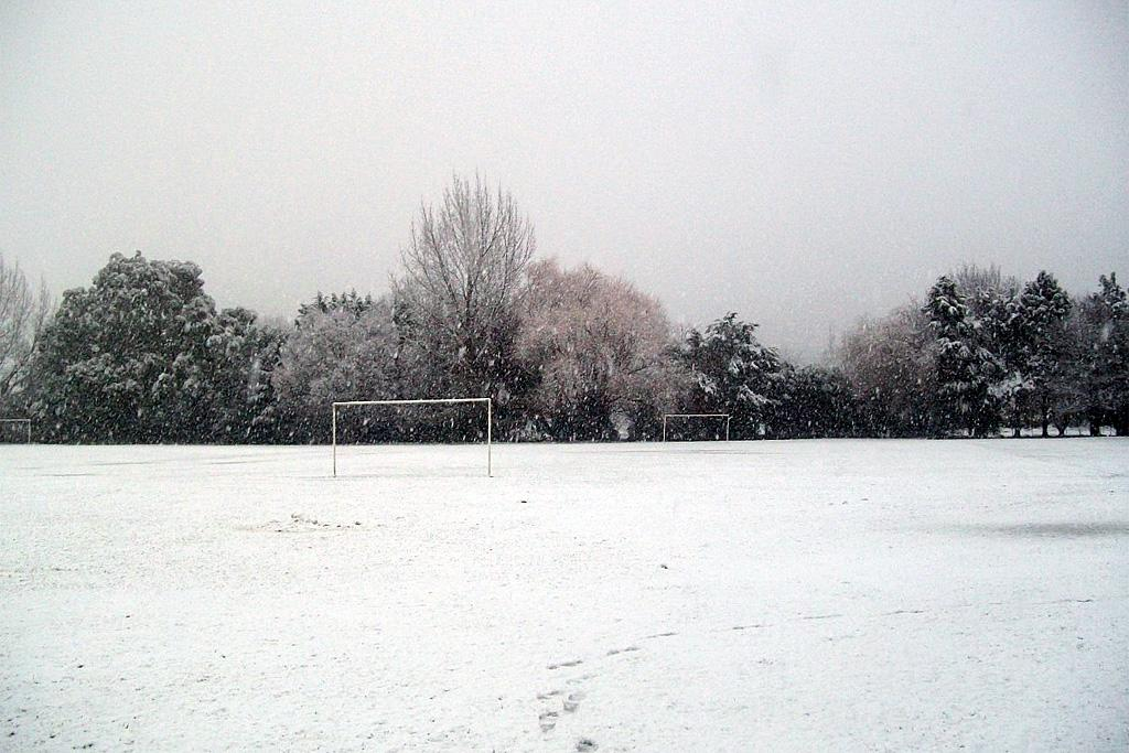 The snow on this Upper Hutt football pitch gives new meaning to the term 'All White'.