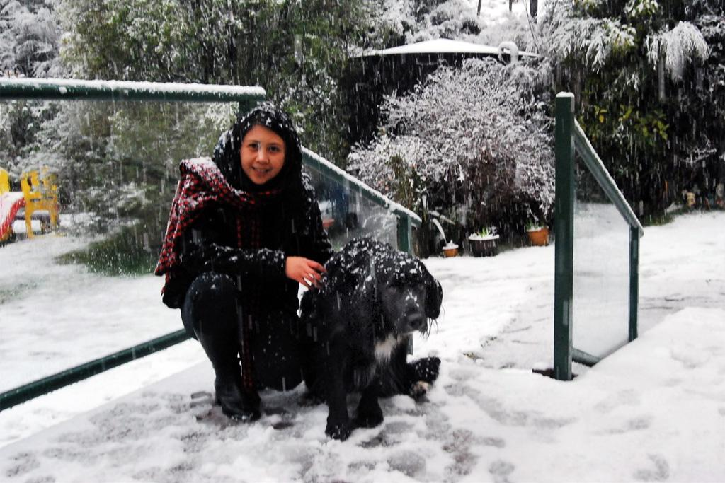 Rowena Brown with Marley, enjoying the cold weather at Moores Valley Road.