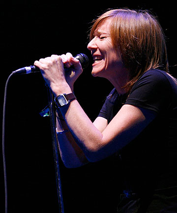 GHOSTLY FIGURE: Beth Gibbons performs with Portishead at the Coachella Music Festival in 2008.