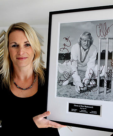 Famous father: Jayna Wadsworth aims to auction an anniversary photo of Ken Wadsworth, signed by current Black Caps stars.