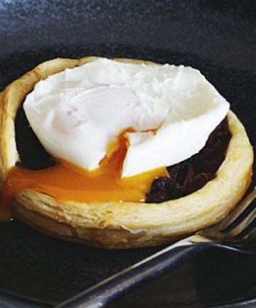 These tartlets are best served with soft-poached eggs so that the runny yolks meld into the onion filling.