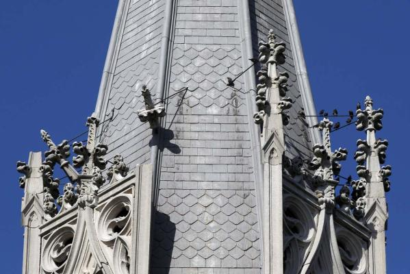 Decorative pieces on a steeple are damaged at Saint Patrick's Catholic Church after an earthquake was felt in Baltimore.