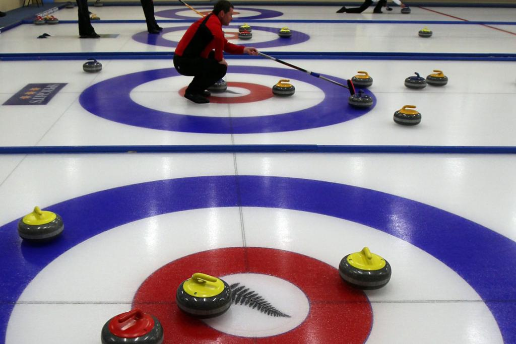 2011 Winter Games in New Zealand. Competitors during the curling round robin matches on day eight of the Winter Games NZ at Maniototo International Curling Rink.