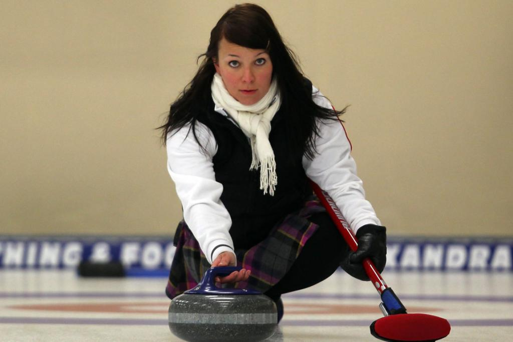 Katja Kilskinen of Finland releases a stone during the Curling Round Robin match between Finland and Australia.