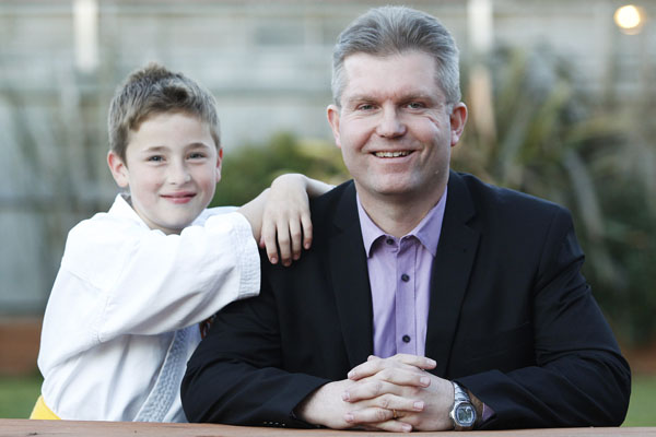 Brian's boss:Marlborough Chamber of Commerce general manager and Blenheim businessman Brian Dawson and his son, 10-year-old Alex.
