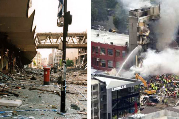 Sir Richard Leese was leader of the Manchester City Council when the city was devastated by an IRA bombing in 1996 (left). Right - the collapsed CTV building in Christchurch.