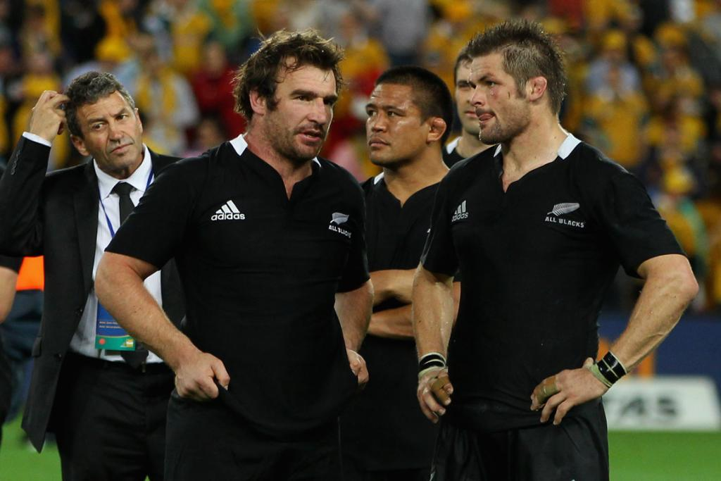 The de-briefing begins. From left, All Blacks assistant coach Wayne Smith, reserve hooker Andrew Hore, hooker Keven Mealamu and captain Richie McCaw.