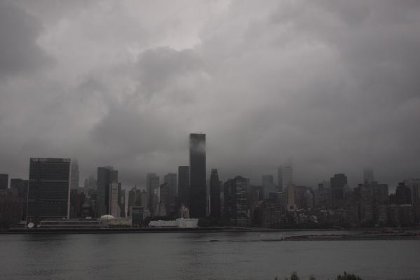 Storm clouds from Hurricane Irene gather over New York.
