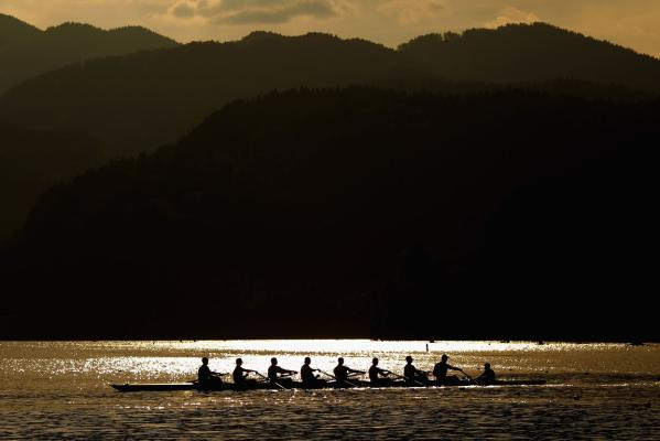 The mountains around Lake Bled provide a picturesque backdrop to the rowing world championships.