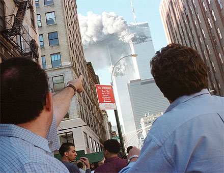 edestrians react to the collapse of New York's World Trade Center.