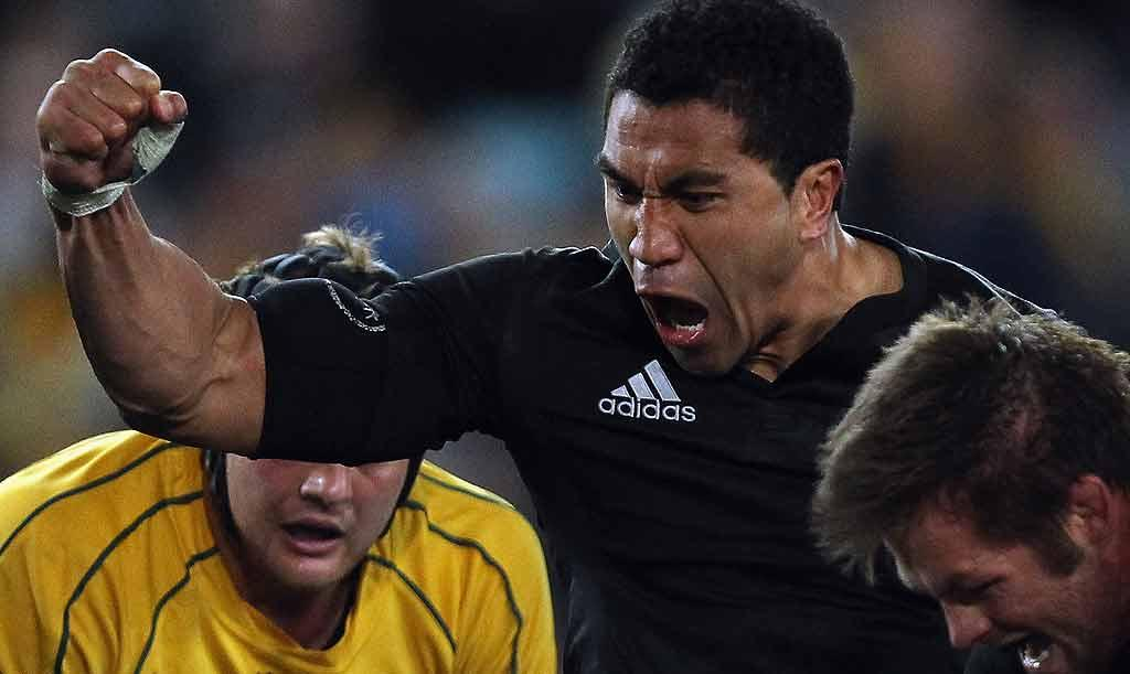 All Blacks fullback Mils Muliaina celebrates No8 Kieran Read's matchwinning try against Australia at ANZ Stadium in Sydney.
