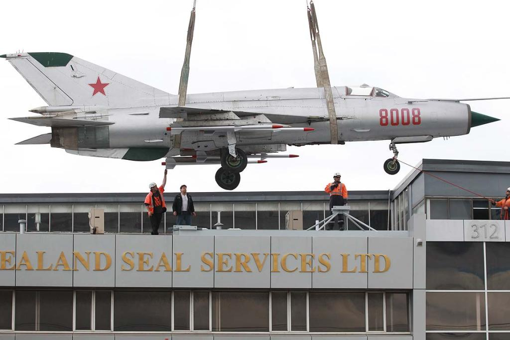 Businessman Manfred Bennett had a Russian-built MIG fighter jet mounted on the rooftop of his Onehunga premises.