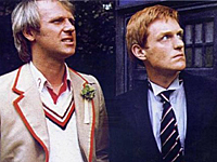 TRAVELLING BACK IN TIME: Mark Strickson outside the Tardis with Peter Davison.