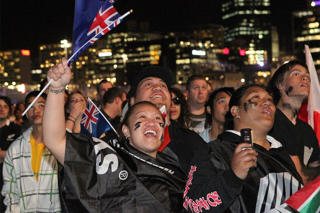 All Blacks fans in Auckland.