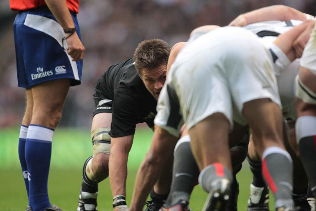 Richie McCaw packs down during the All Blacks' test against England at Twickenham.