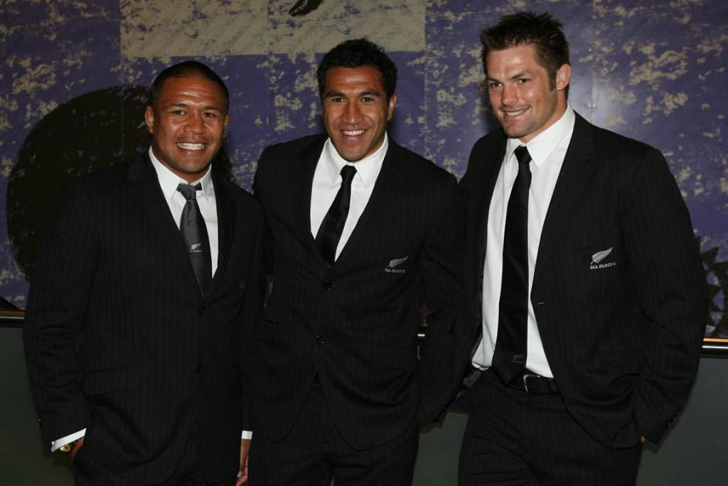 The All Blacks boys are looking sharp in pinstripes (from left), Keven Mealamu, Mils Muliaina and captain Richie McCaw.