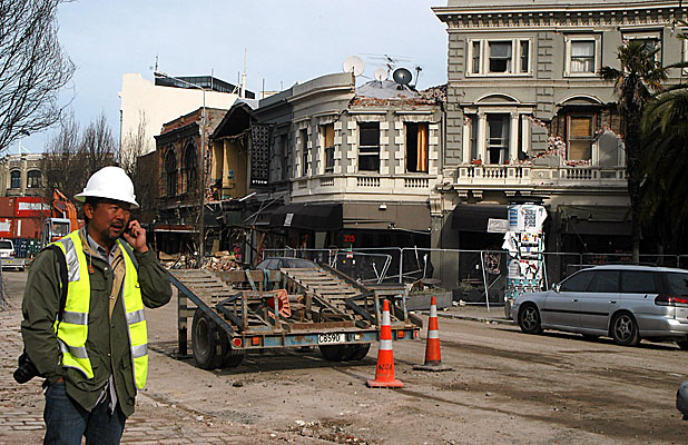SEEING FOR HIMSELF: Dr Kit Miyamoto at work in Christchurch's wrecked central business district.