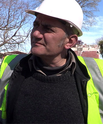 STONEWALLED: Mark Whyte is unhappy with the way Trinity Church has been demolished.