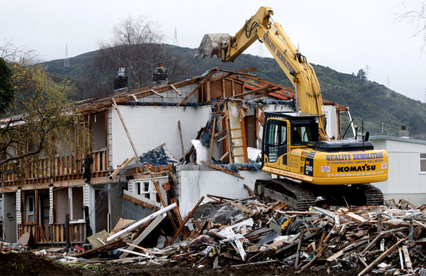 Housing New Zealand homes are demolished in Farmer Cres, Pomare.