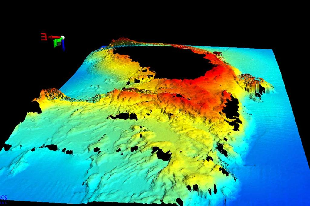 A 3D graphic of the Astrolabe Reef. The colours indicate the water depth.
