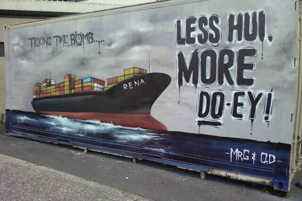 MESSAGE TO THE MASSES: A shipping crate at Papamoa with mural relating to the container ship Rena.