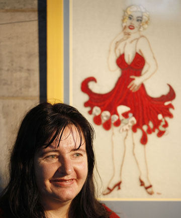 STITCH IN TIME: Marina McPherson with her embroidered painting on display at Nelson's Christ Church Cathedral.