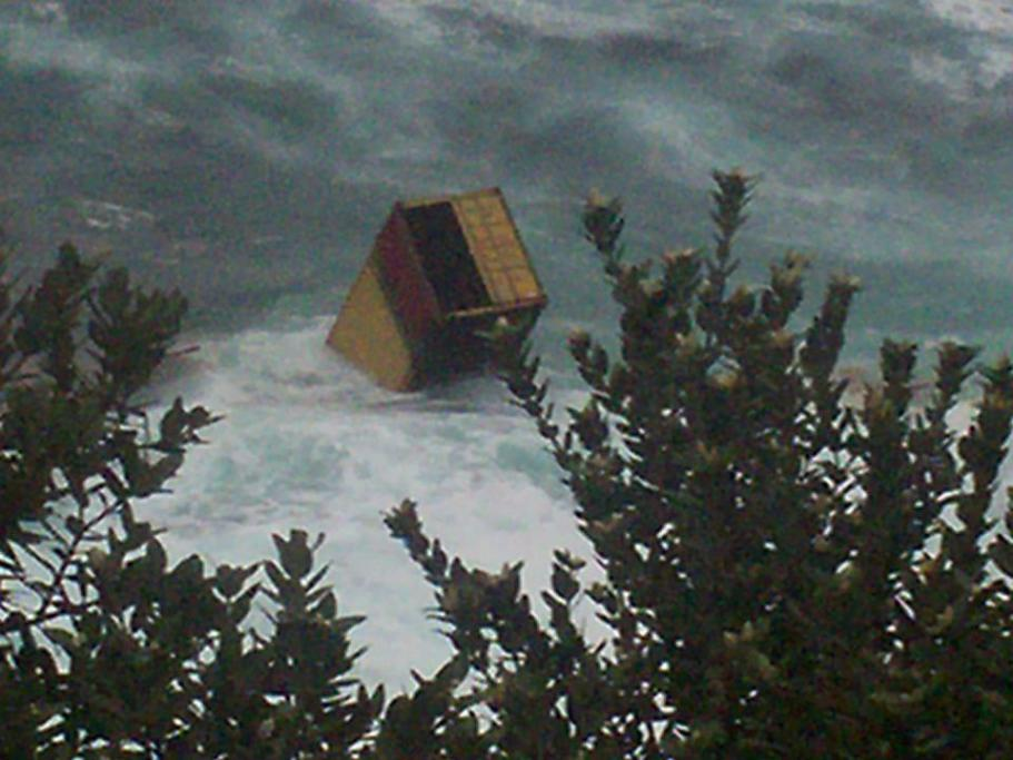 A container coming ashore on the northern side of Motiti Island, which is around 7km from the ship grounding site.