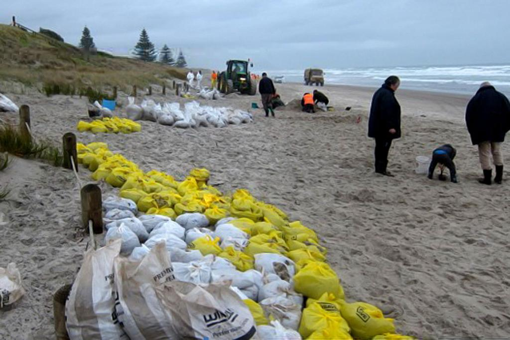 WAITING COLLECTION: Scores of bags full of oil await collection in Papamoa.
