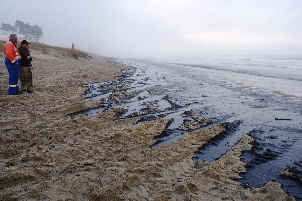 Oil washes up on Papamoa Beach.