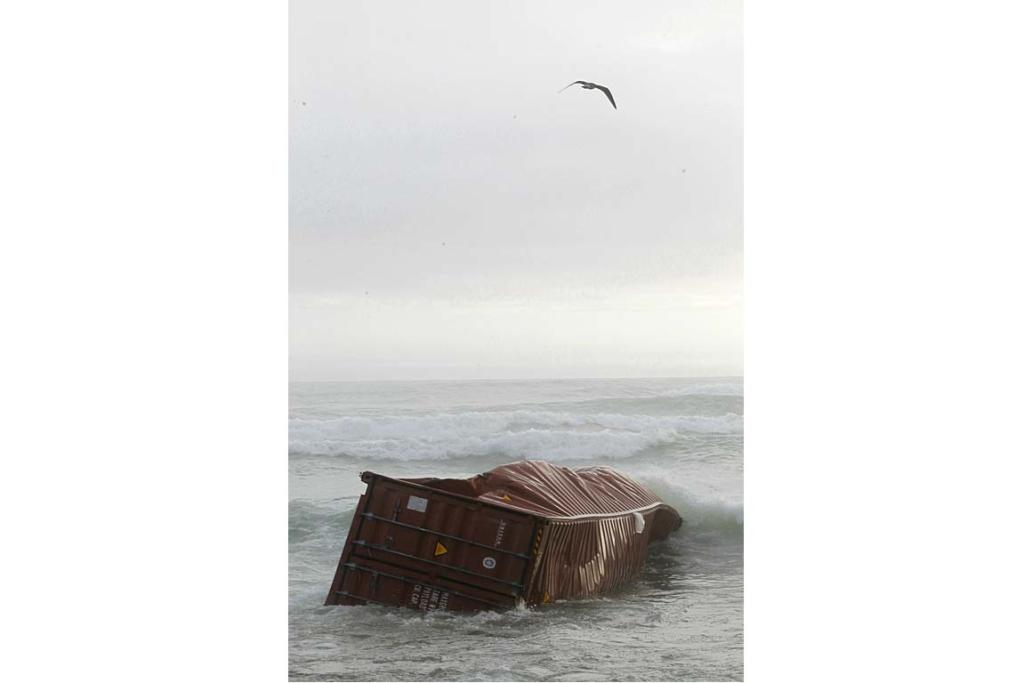 A container from the stricken Rena, washed up on Mt Maunganui Beach, Thursday October 13.