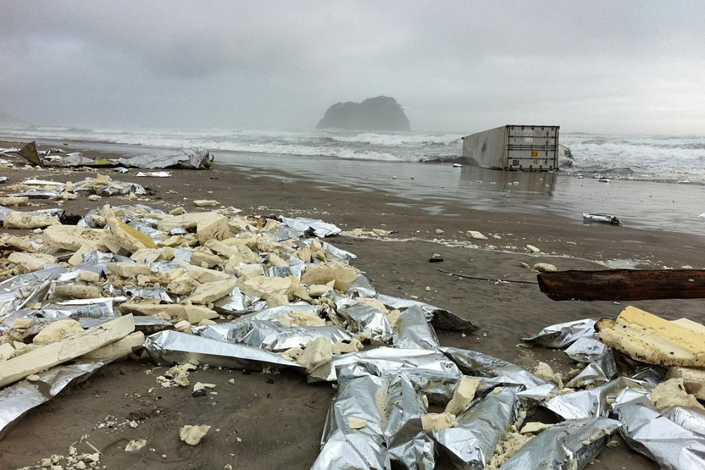 Packets off meat patties from a container off the Rena have washed up on Mt Maunganui beach.