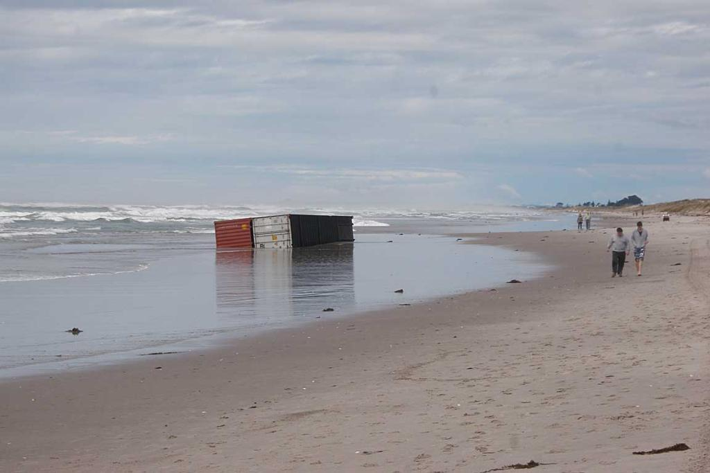 Two containers seen at Papamoa Beach on Thursday October 13.