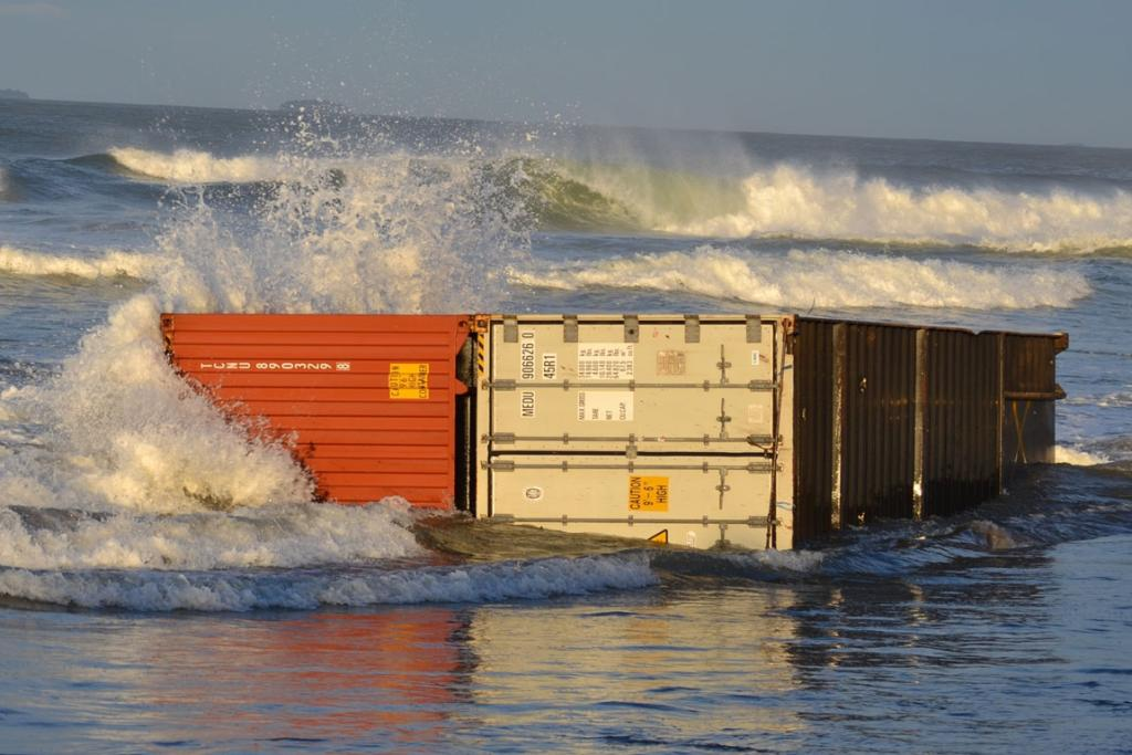 Containers on Mount Maunganui Beach.
