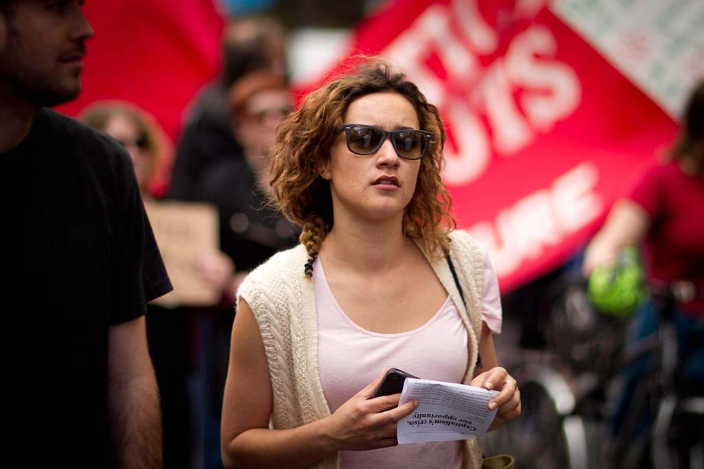 Actress Keisha Castle-Hughes gets involved in the protest in Auckland.