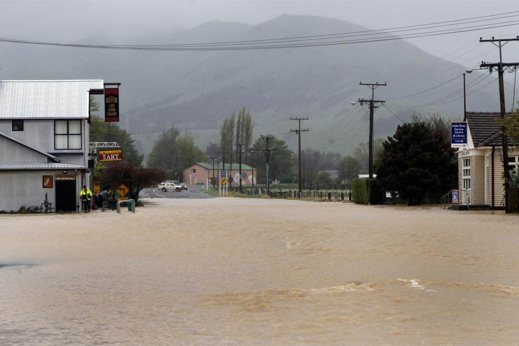 INUNDATED: Flooding at Little River closed State Highway 75 between Christchurch and Akaroa.