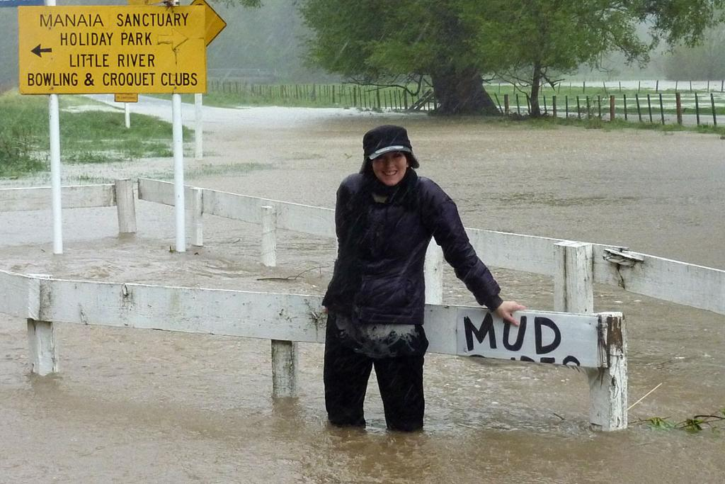 WATERLOGGED: Megan Gainsford loses sight of her feet at the Okuti Valley turnoff.