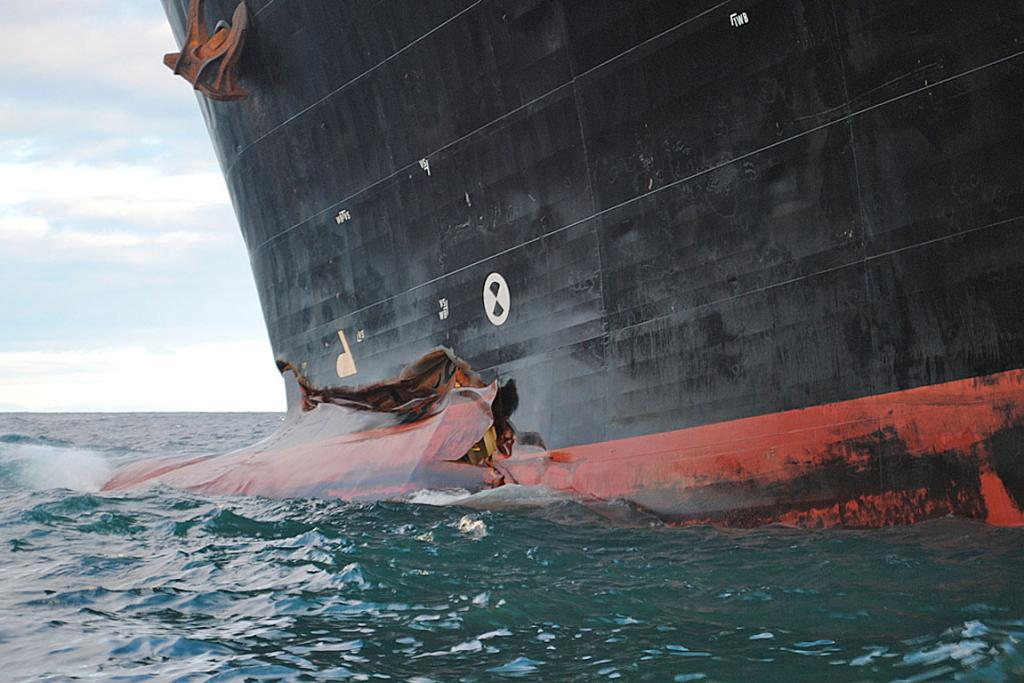 Rena's bow is broken and twisted from the impact with the Astrolabe Reef off Tauranga.