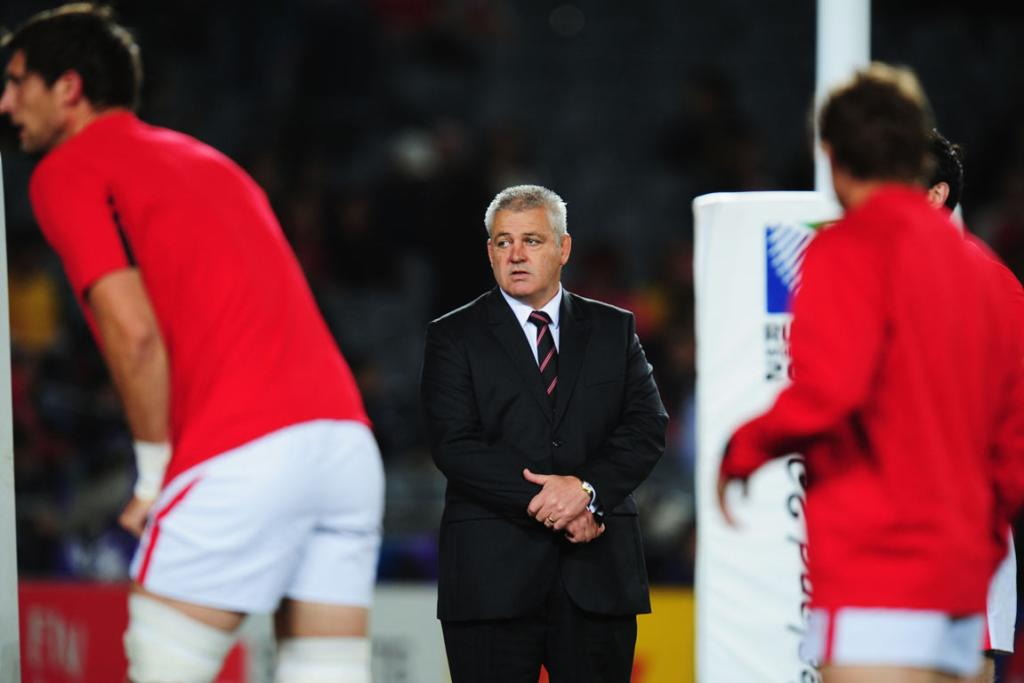 Wales head coach Warren Gatland watches over the pregame warm up.
