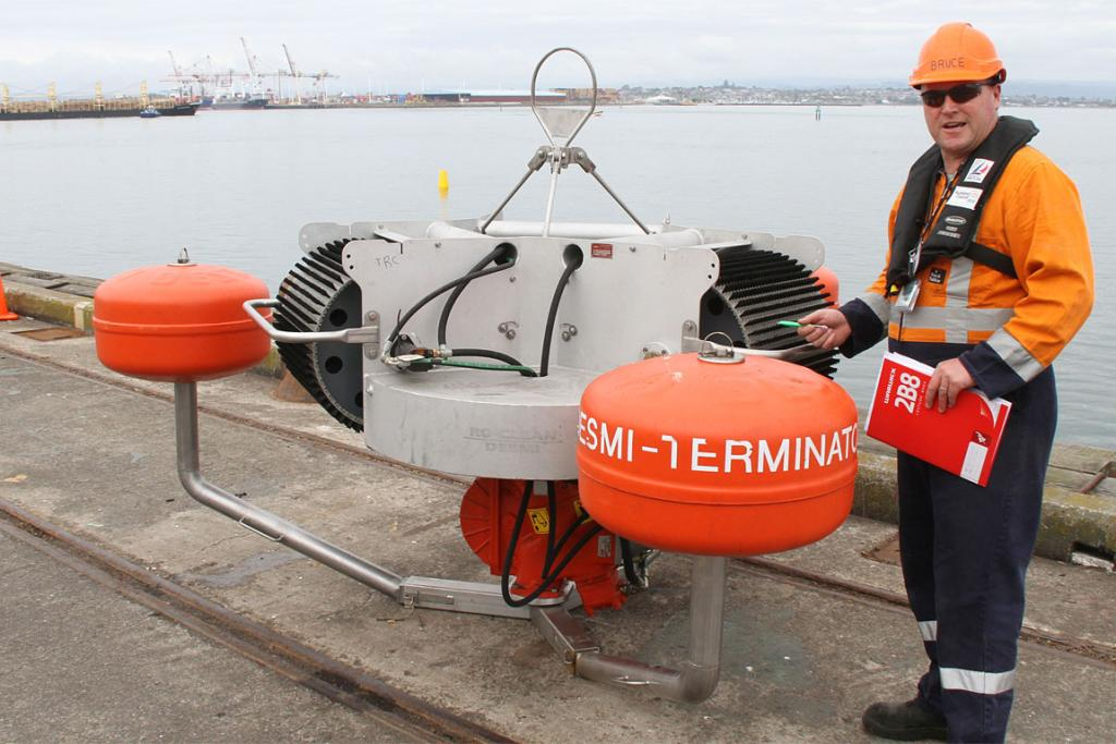 Oil responder Bruce Goff with the Terminator oil skimmer ready for deployment. on Sunday, October 23.