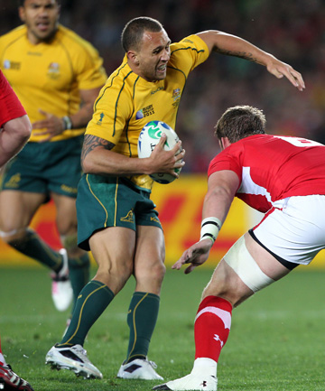PAINFUL MOMENT: Quade Cooper sustains his knee injury against Wales in the World Cup bronze playoff.