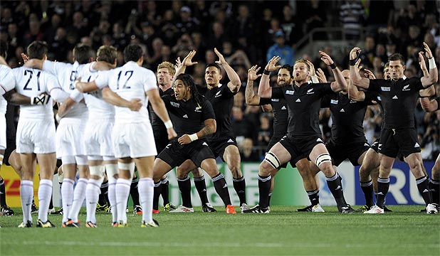 FACE-OFF: The French team broke with normal protocol and lined up in a V-formation before moving rapidly well inside the All Blacks' half by the time the haka had finished.