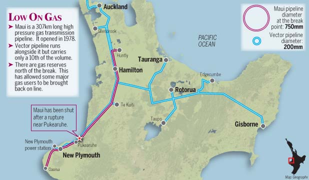 DOWNSTREAM: A map shows where the gas pipeline was damaged in Taranaki and other gas lines affected by the gas supply shut down.