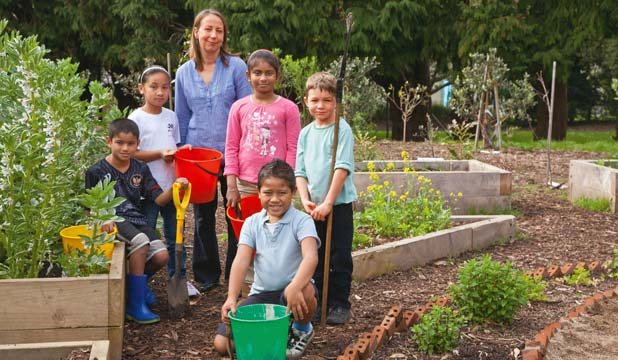 MANY GREEN THUMBS: Students and teachers of Owairaka Primary School have been nominated for developing gardens to prevent vandalism.