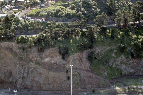 Aerial pictures of Christchurch earthquake damage show the old WWII tunnel at the Port of Lyttelton.