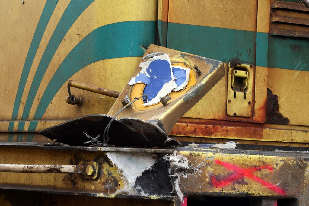 The train involved in the accident, showing marks from the collision.