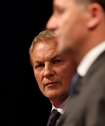 FACE-OFF: Labour leader Phil Goff stares at his National counterpart, John Key, at the Press 2011 election leaders' debate in Christchurch.