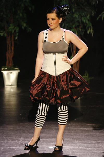 Heidi Dally wears the design of Taryn Casci at theSouthern Institute of Technology Chrysalis Graduates Showcase dress rehearsal at Centrestage.