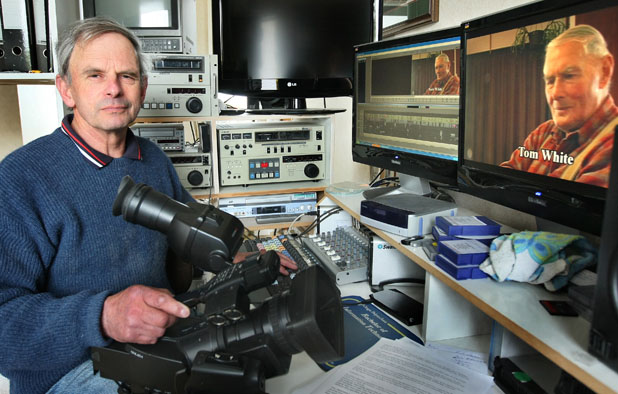 HOME MOVIES: Riverton film-maker Dave Asher, of South Coast Productions, in his home digital editing studio. His business partner, Dave McCarlie, works out of his own home studio in Te Anau.
