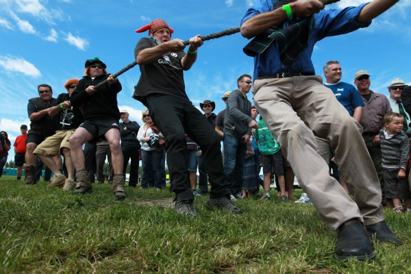 Tom Wilson wore his horned hat as he and fellow members of the Malvern Collie Club team competed in the tug-o-war heats at the Hororata Highland Games.