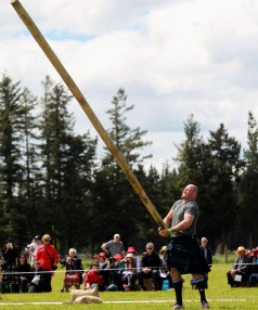 Rugby personality Ben Franks won the novice caber toss event.